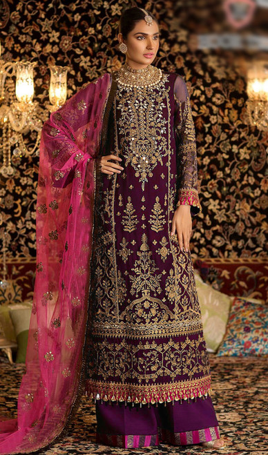 Georgette Purple Color Embroidered Palazzo Suit