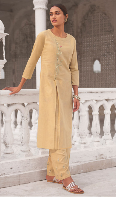 Linen Cotton Printed Kurti With Pant in Cream Color