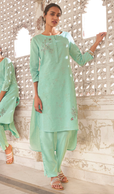 Linen Cotton Printed Kurti With Pant in Aqua Green Color