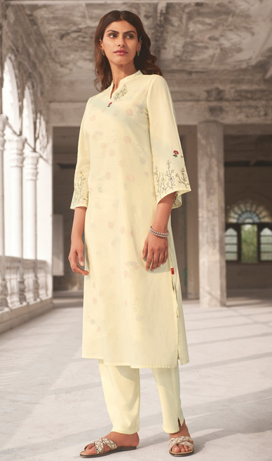 Linen Cotton Printed Kurti With Pant in Off White Color