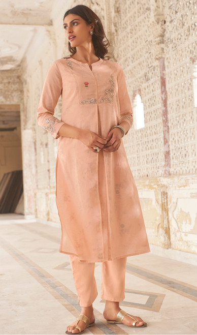 Linen Cotton Printed Kurti With Pant in Light Peach Color