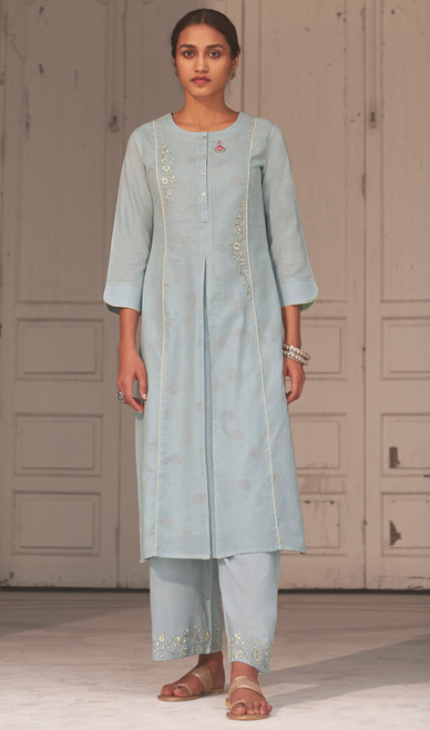 Linen Cotton Printed Kurti With Pant in Sea Blue Color