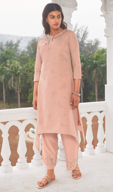 Baby Pink Color Linen Cotton Printed Kurti With Pant