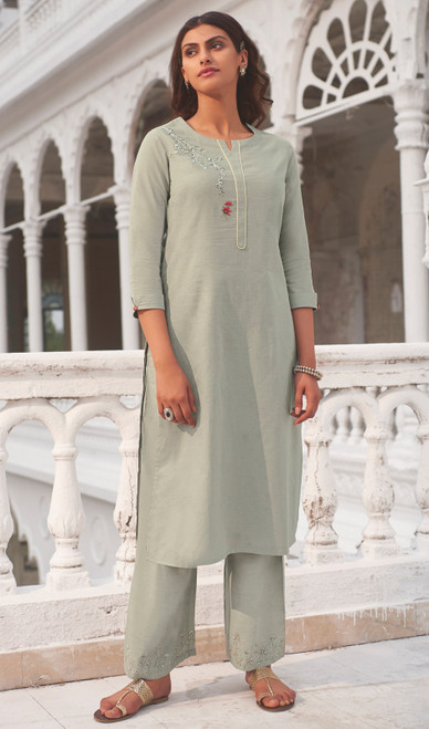 Linen Cotton Printed Kurti With Pant in Light Gray Color