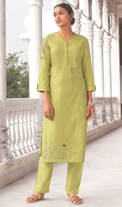 Linen Cotton Printed Kurti With Pant in Light Green Color