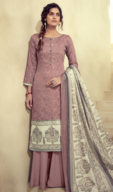 Printed Zam Cotton Palazzo Suit in Light Brown Color