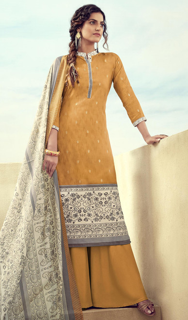 Printed Zam Cotton Palazzo Suit in Mustard Color