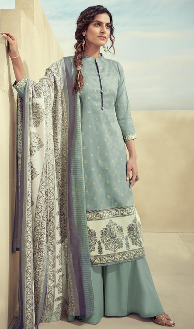 Printed Zam Cotton Palazzo Suit in Sea Blue Color