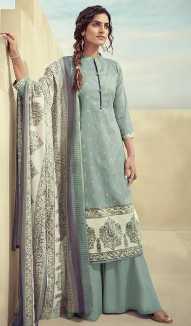 Printed Zam Cotton Palazzo Suit in Sea Blue Color