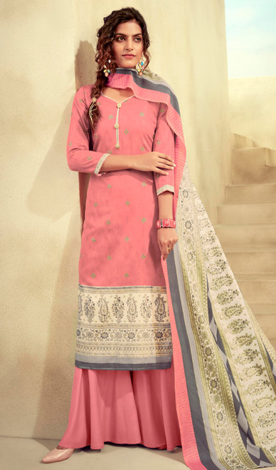 Printed Zam Cotton Palazzo Suit in Baby Pink Color