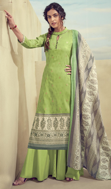 Printed Zam Cotton Palazzo Suit in Green Color
