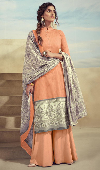 Printed Zam Cotton Palazzo Suit in Peach Color