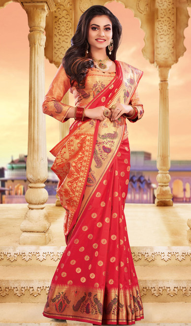 Red Color Silk Weaving Saree