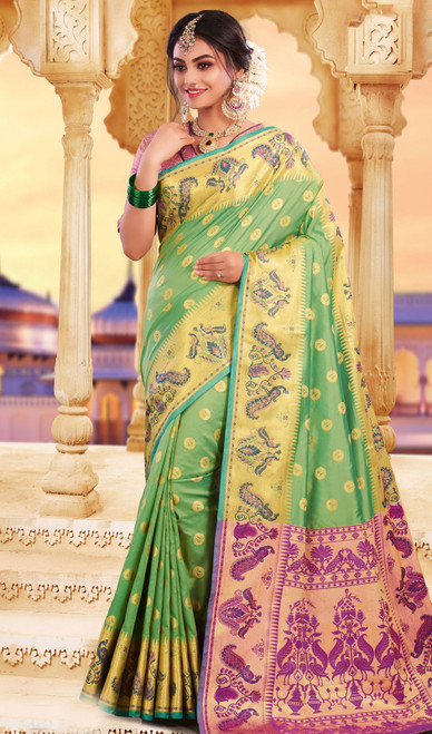 Green Color Silk Weaving Saree