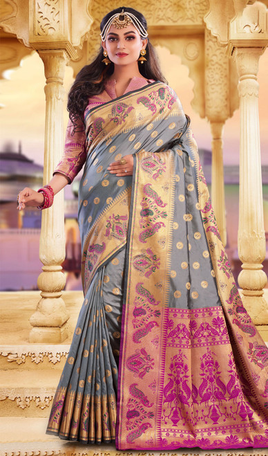 Gray Color Silk Weaving Saree