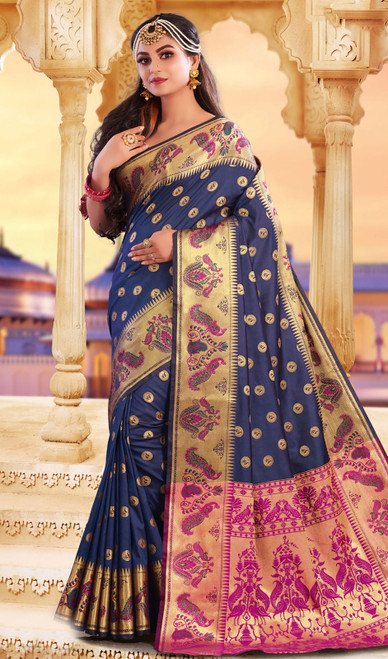 Blue Color Silk Weaving Saree