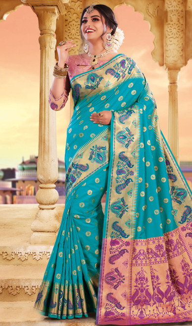 Sky Blue Color Silk Weaving Saree