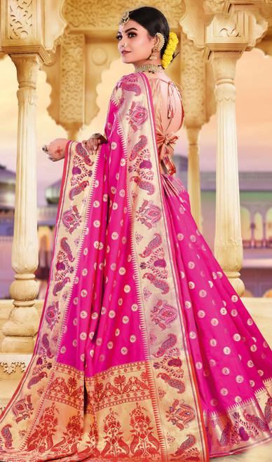 Rani Pink Color Silk Weaving Saree