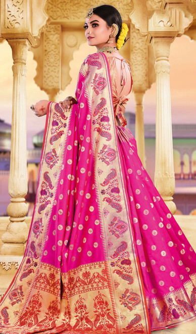 Rani Pink Color Silk Weaving Saree