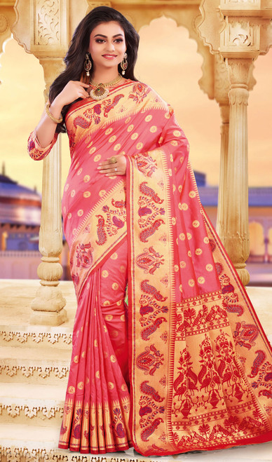 Coral Color Silk Weaving Saree