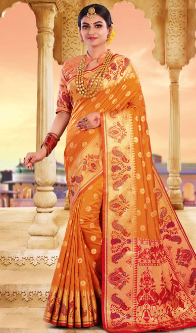 Orange Color Silk Weaving Saree