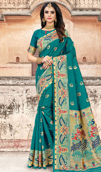 Rama Green Color Silk Weaving Sari
