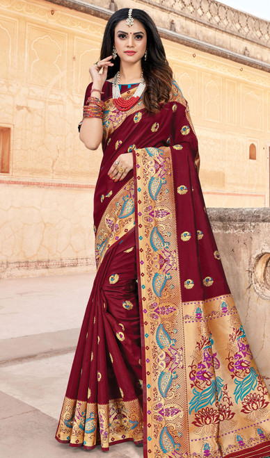 Maroon Color Silk Weaving Sari