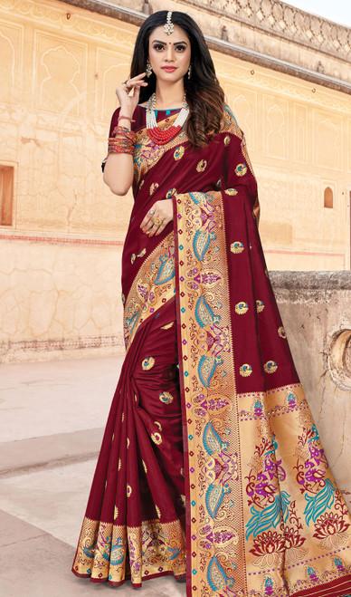 Maroon Color Silk Weaving Sari