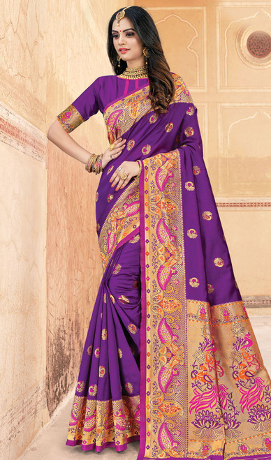 Purple Color Silk Weaving Sari