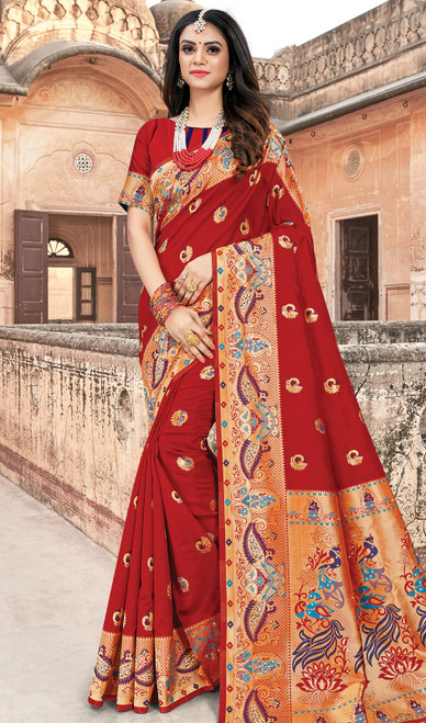 Silk Red Color Weaving Indian Sari
