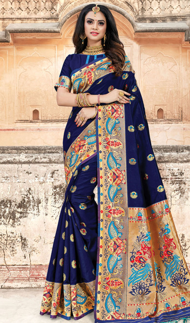 Silk Traditional Weaving Navy Blue Color Sari
