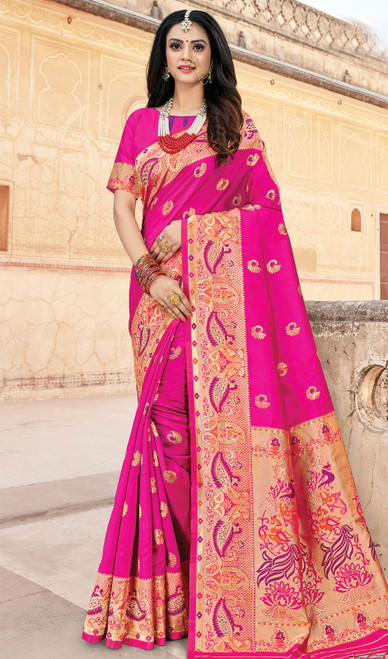 Silk Pink Color Weaving Indian Sari