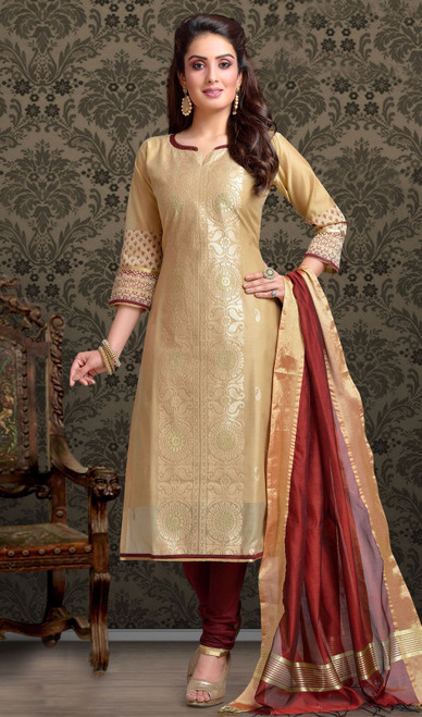 Chanderi Silk Embroidered Churidar Suit in Beige and Maroon Color