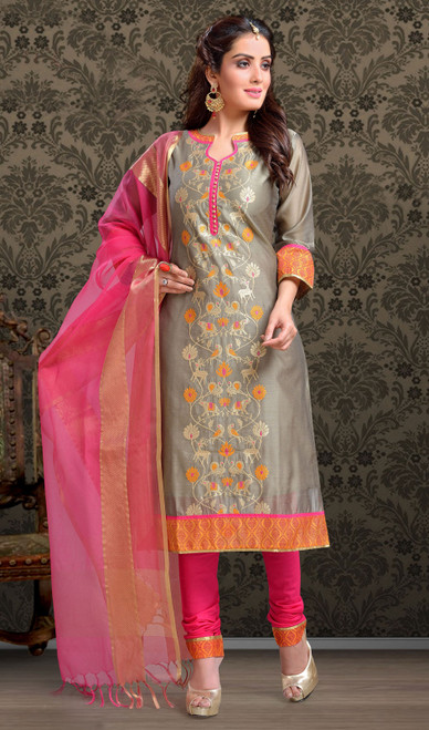 Chanderi Silk Embroidered Churidar Suit in Gray and Pink Color