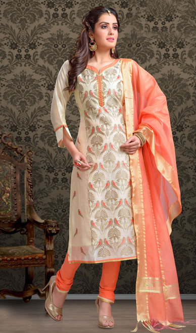Chanderi Silk Embroidered Churidar Suit in Off White and Orange Color
