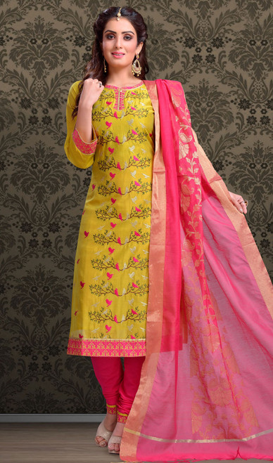 Chanderi Silk Embroidered Churidar Suit in Yellow and Pink Color