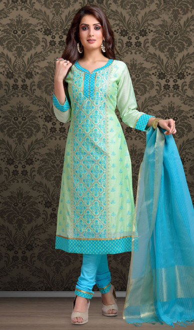 Chanderi Silk Embroidered Churidar Suit in Ice Blue and Sky Blue Color