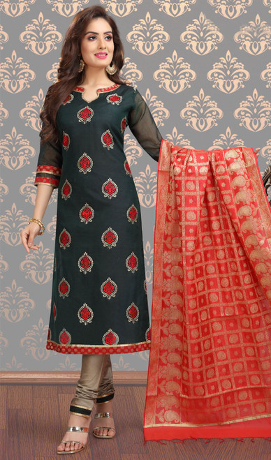 Chanderi Silk Embroidered Churidar Suit in Black and Beige Color