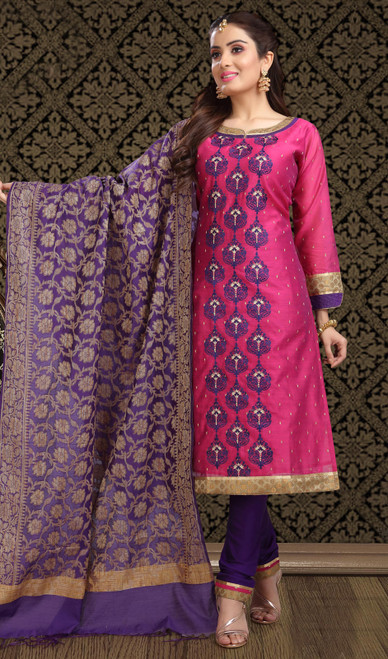 Chanderi Silk Embroidered Churidar Suit in Rani Pink and Purple Color