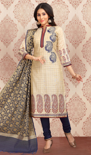 Chanderi Silk Embroidered Churidar Suit in Beige and Navy Blue Color
