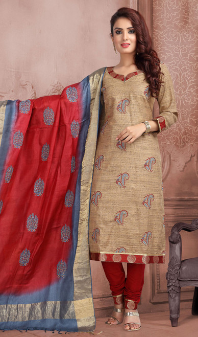 Beige and Maroon Color Chanderi Silk Embroidered Churidar Suit