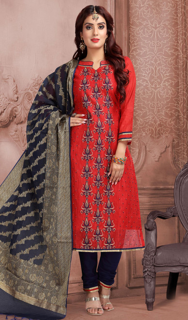 Chanderi Silk Embroidered Churidar Suit in Red and Navy Blue Color