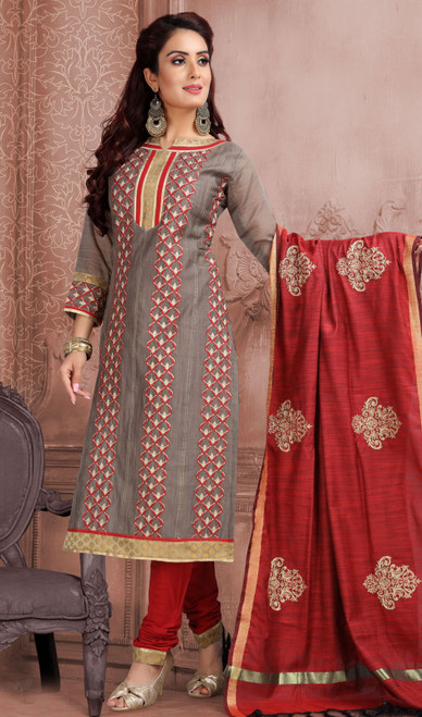 Chanderi Silk Embroidered Churidar Suit in Gray and Maroon Color