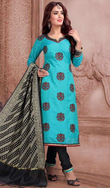 Chanderi Silk Embroidered Churidar Suit in Turquoise and Black Color