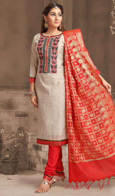 Chanderi Silk Embroidered Churidar Suit in Off White and Red Color