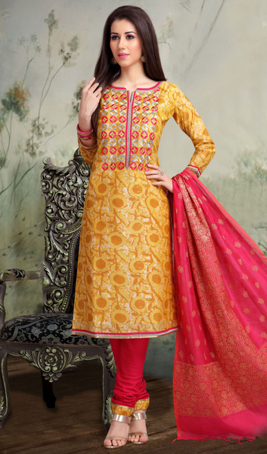 Yellow and Pink Color Chanderi Silk Embroidered Churidar Suit