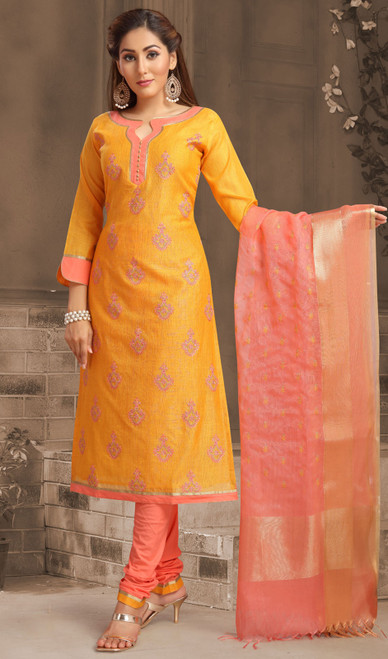 Chanderi Silk Embroidered Churidar Suit in Orange and Peach Color