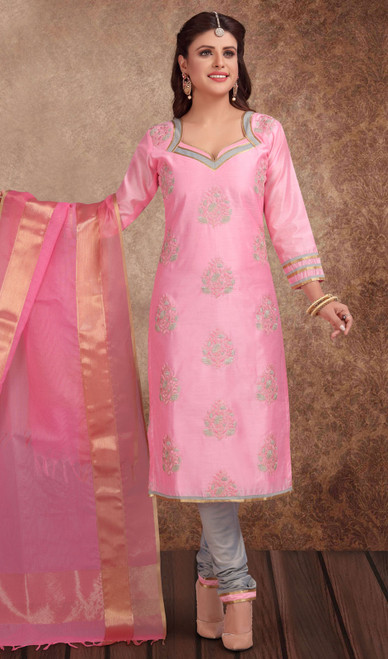 Chanderi Silk Embroidered Churidar Suit in Baby Pink and Gray Color