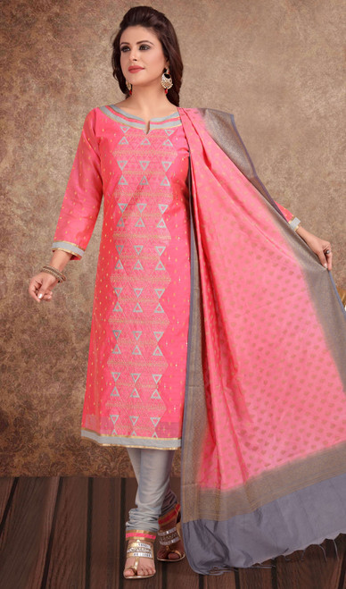 Chanderi Silk Embroidered Churidar Suit in Dusty Pink and Gray Color