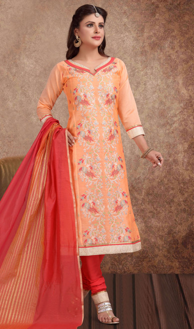 Chanderi Silk Embroidered Churidar Suit in Peach and Red Color